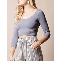 Control Fit 3/4 Sleeve Crop Top