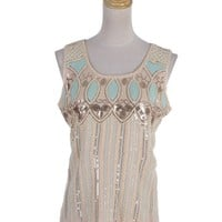 Anna-Kaci S/M Fit Beige Mint Art Deco Inspired Design Sequin Embellished Top