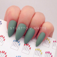 Stiletto, 12pcs, Grace Green Hand Painted Nail Tips / Press On / Stick On / Fake Nails - Glossy or Matte