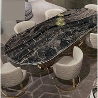 High End Luxury Modern Marble Oval Dining Table Set