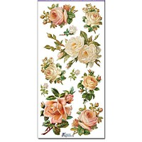 White Roses Victorian Floral 2 Sheets of Stickers