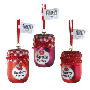 Fruit Jam Jar Glass Christmas Ornaments, Red, 3-Inch, 3-Piece