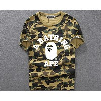 BAPE trend fashion personality camouflage round neck short-sleeved T-shirt F-A-KSFZ Green