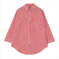 Red Olive Cartoon Back Print Striped Blouse