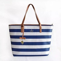 fashion kate spade women shopping leather tote handbag shoulder bag blue white stripe