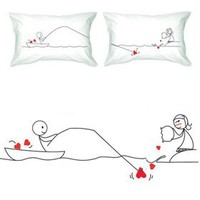 """BOLDLOFT® """"Catch My Heart"""" Couple Pillowcases-Long Distance Relationship Gifts,Cute Couple Gifts,His and Hers Gifts for Couples,Valentine's Day Gifts,Gifts for Him,Gifts for Her"""