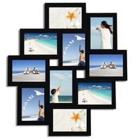 """Adeco Decorative Black Wood Wall Hanging Collage Picture Photo Frame, 10 Openings, 3.5x5"""""""