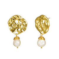 Hammered Gold Earrings for Women with Baroque Freshwater Pearls