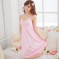Women Lace Suspender Sleepwear Robes Girl Imitation Silk Night Dress