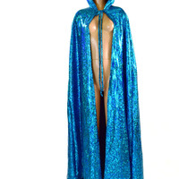 Full Length Hooded Holographic Cape in Turquoise Shattered Glass