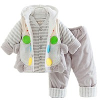 Winter baby clothing  boy girl cotton 3-piece snow wear outwear unisex baby clothes set with hat