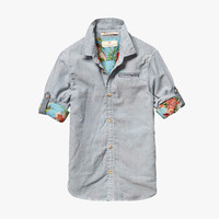 Scotch Shrunk Boys Lightweight Bonded Shirt in Blue Stripe - 1541-01.20508