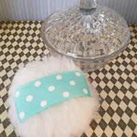 Powder Puff and Glass Powder Dish, Gift For Her, Vanity Decor, Handmade Powder Puff, Powder Dusting Gift, Fluffy Pouf, Ready to Ship