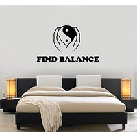 Vinyl Wall Decal Zen Quote Yin Yang Bedroom Art Room Decor Stickers Mural (ig5263)