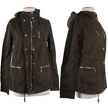 Vintage Army Green Drawstring Hooded Military Trench Coat Jacket