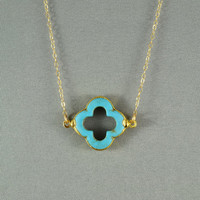 Turquoise Quatrefoil Clover Necklace, 24K Gold Edged, 14K Gold Filled Chain, Feminine, Eye Catching, Wonderful Necklace