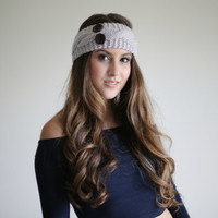 Off White Button Cable knitted earwarmer head band