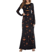 Halloween 3D Print Maxi Dress Pumpkin Light Type Ghost Bloody Palm Print Long Sleeve Slim Maxi Dress Women 2018 Halloween Dress