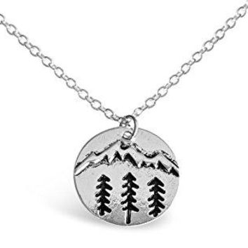 Round Plate Forest With Mountain Ranges Necklace