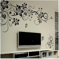 Black Flower Vine Wall stickers home decor large paper flowers living room bedroom wall decor sticker on the wallpaper
