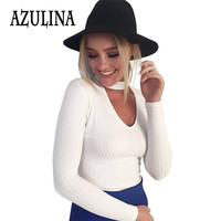 AZULINA 2016 Winter Casual Knitwear Halter Knitted Crop Sweater Women White Short Pullover Tops Slim V Neck Jumper Pull Femme