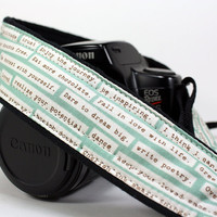 dSLR Camera Strap,Quotes, Green, Inspirational, SLR