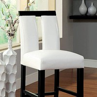 Luminar II Contemporary Counter Height Chair, White And Black Finish, Set of 2 By Casagear Home