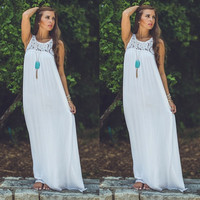 Fashion Sexy Women Summer Lace Boho Long Maxi Evening Party Dress Beach Dresses Sundress White = 1946008132