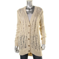 MICHAEL Michael Kors Womens Wool Blend Cable Knit Cardigan Sweater
