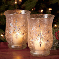 Elegant Set of 2 Frosted Glass Jeweled Hurricanes Snowflake Glittering Candleholders