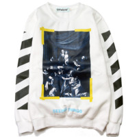 Fashion Casual Pullover Round Neck Long Sleeve Splicing Sweater White