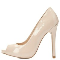 Peep Toe Mini Platform Pumps by Charlotte Russe