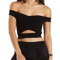 Off-the-Shoulder Cut-Out Wrap Crop Top by Charlotte Russe