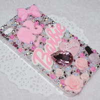 MADE TO ORDER Customised Baby Light Pink Barbie Bling Crystal Rhinestone Pearl Nail Polish Roses Kawaii Decoden Phone Case iPhone 3 4 4S 5