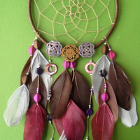 Dream Catcher - Modern - Pink and Brown - Bohemian - Beaded