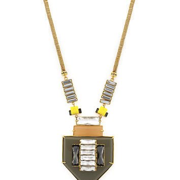 Louise Et Cie Gold Tone and Multi Color Mixed Stone Necklace