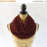 Labor Day Sale Ready To Ship Infinity Scarf Crochet Burgundy Dark Red Long and Thick Women's Accessories Eternity Fall Winter