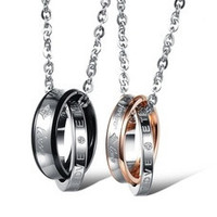 """Fashion Couple """"Forever Love"""" Double Ring Necklace Lover Promise Necklace One Piece Price [7641246854]"""
