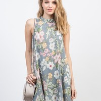 Floral Gauze Shift Dress