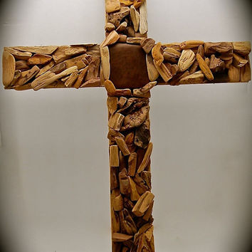 "Handmade Wood Cross-Unique Driftwood, Reclaimed Cedar, Petrified Wood and Reclaimed Leather 2 Foot tall by 18"" Across - very unique"