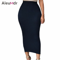 Aleumdr 2016 Fashion Summer Pencil Skirt Office Lady Bodycon Slim Vintage Midi Skirts Womens High Waist LC71188 Saias Femininas