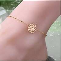 Summer wild models, simple copper beads chain rose anklets