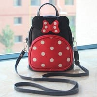 Children girl shcool backpacks lovely Mickey Mouse ears and big bowknot backpack cute girls mochila bag girl bag 5