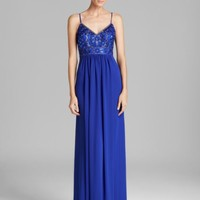 Sue Wong V Neck Beaded Top Grecian Gown | Bloomingdales's