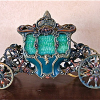 1920's Cinderella Coach Enamel Painted Slag Glass Lamp