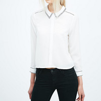 Cooperative Embroidered Edge Blouse in Ivory - Urban Outfitters