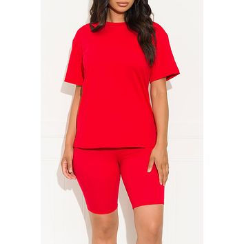 Chill Out Set Round Neck Red