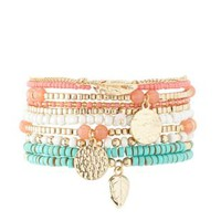 Multi Stackable Beaded Stretch Bracelets - 10 Pack by Charlotte Russe