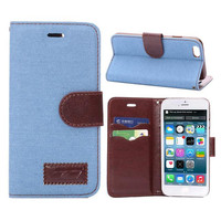 Unique Sky Blue Denim Leather Card Hold Wallet Cases Cover for iPhone 5S 6 6S Plus Samsung Galaxy S6 Hight Quality