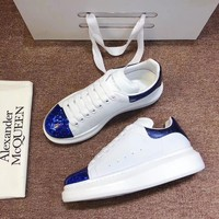 Alexander Mcqueen 2020 Hot Sale Woman lace up low top boots Leisure Sport Shoes Sneakers top quality white blue